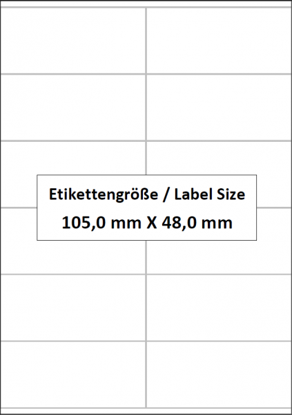 105,0 x 48,0 mm, 12 Etiketten pro Bogen