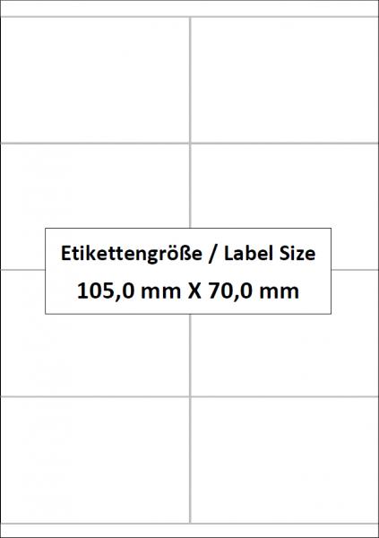 105,0 mm x 70,0 mm, 8 Etiketten pro Bogen